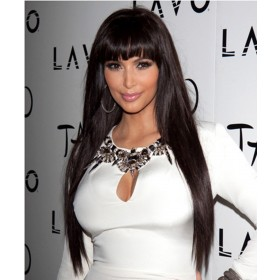 Deep Part Silky Straight Msbuy13x6  Lace Front Wigs With Bang 150% Density