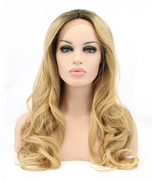 Golden Yellow Women Fashion Synthetic Wig Big Blonde Wavy