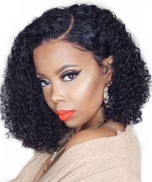 Msbuy 13x6 Lace Front Short Bob Wigs With Baby Hair 150% Density Curly Human Hair Wig For Black Women Pre Plucked With Removable Band