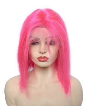 Short Bob Wig Cosplay Colorful Invisible Lace Human Hair Wigs Straight Lace Frontal Wig
