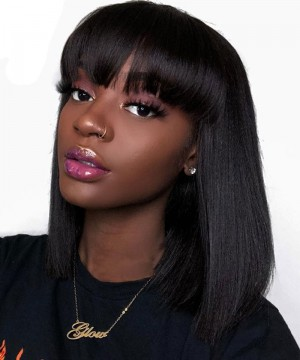 Straight 360 Lace Frontal Wig With Bangs Pre Plucked With Baby Hair 150% Lace Bob Human Hair Wigs