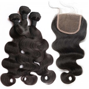 Brazilian Body Wave Lace Closure with 3 Bundles Natural Color 100% Human Hair