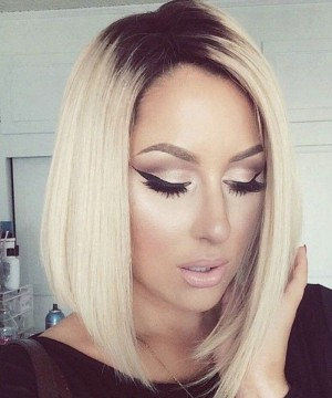 Synthetic Lace Front Wig Straight Short Bob Lace Front Wigs 1B  Blonde Ombre Wigs