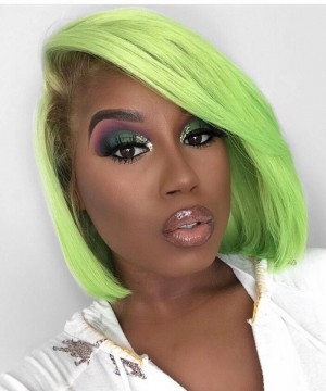 Green Lace Front Wigs For Black Women Colorful Invisible Lace Human Hair Straight Bob Wigs