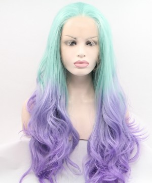 Bright Blue and Purple Ombre Long Wavy Synthetic Wig