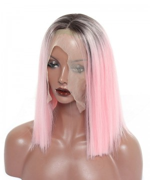Synthetic Lace Front Wig Straight Short Bob Lace Front Wigs 1B  Pink Ombre Wigs