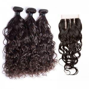 Water Wave Lace Closure with 3 Bundles Free Part Remy Human Hair Free Shipping