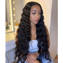 Msbuy Loose Wave 360 Lace Wigs Pre Plucked Brazilian Undetected Lace Wigs With Baby Hair 150% Density Lace Front Human Hair Wigs