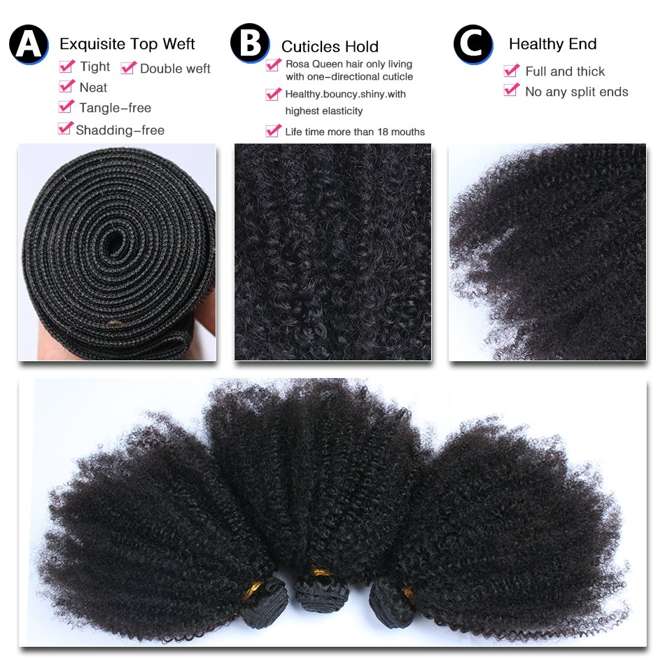 Msbuy Peruvian Afro Kinky Curly Hair Weave 4B 4C 100