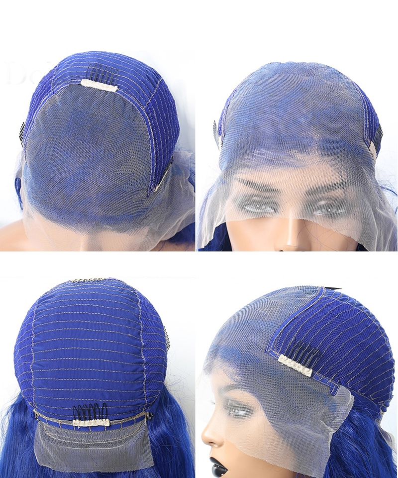 blue color lace wig cap with fake scalp cap