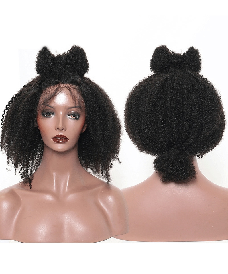 Msbuy Afro curly Silk Top Lace Wigs Natural Scalp Afro Kinky Curly Full Lace Wigs For Black Women With Baby Hair